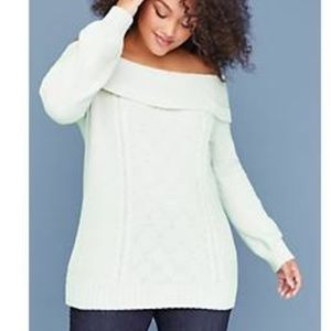 *NWT* Lane Bryant Off-the-Shoulder Cable Sweater